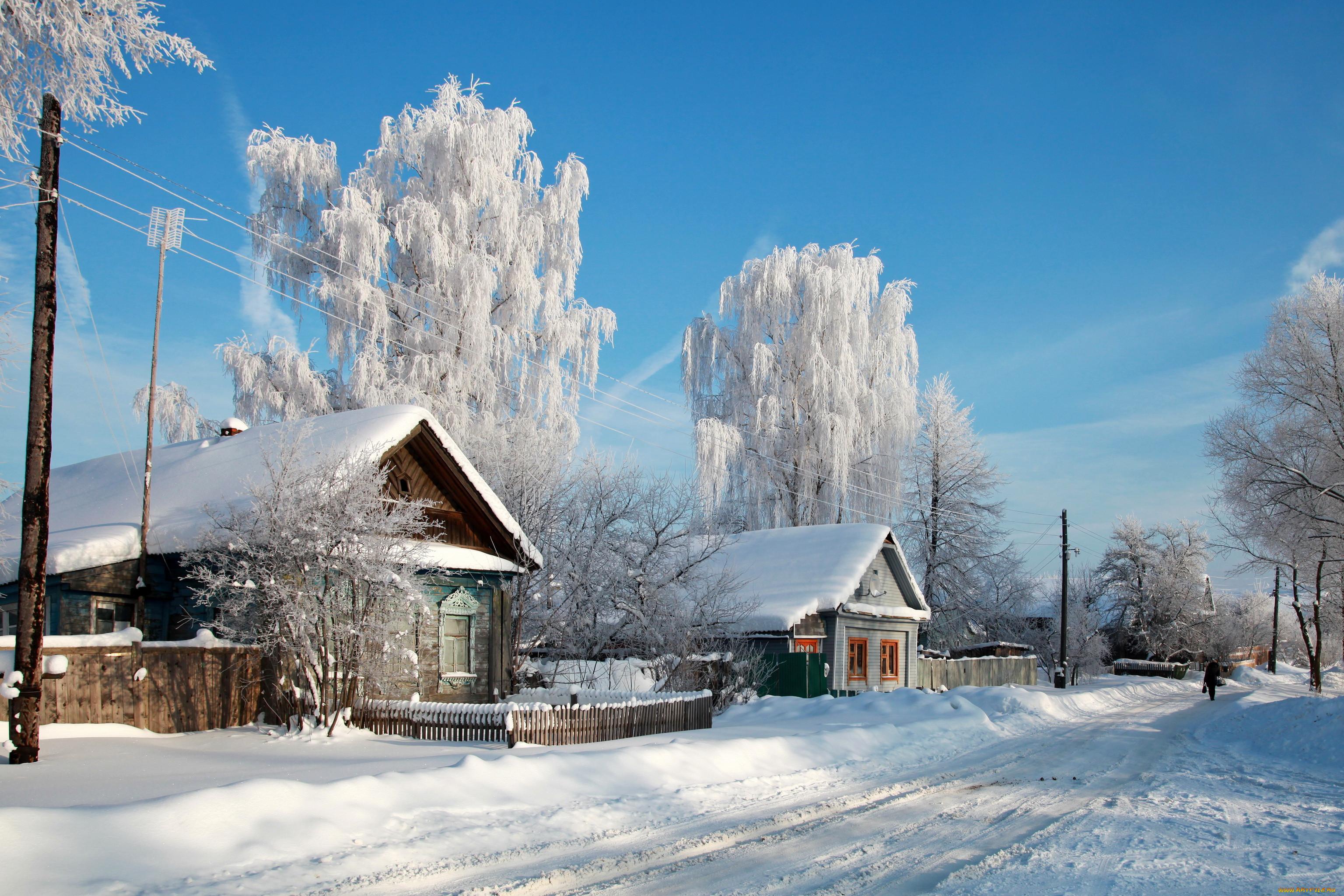 мне картинки для рабочего стола зима в деревне немного
